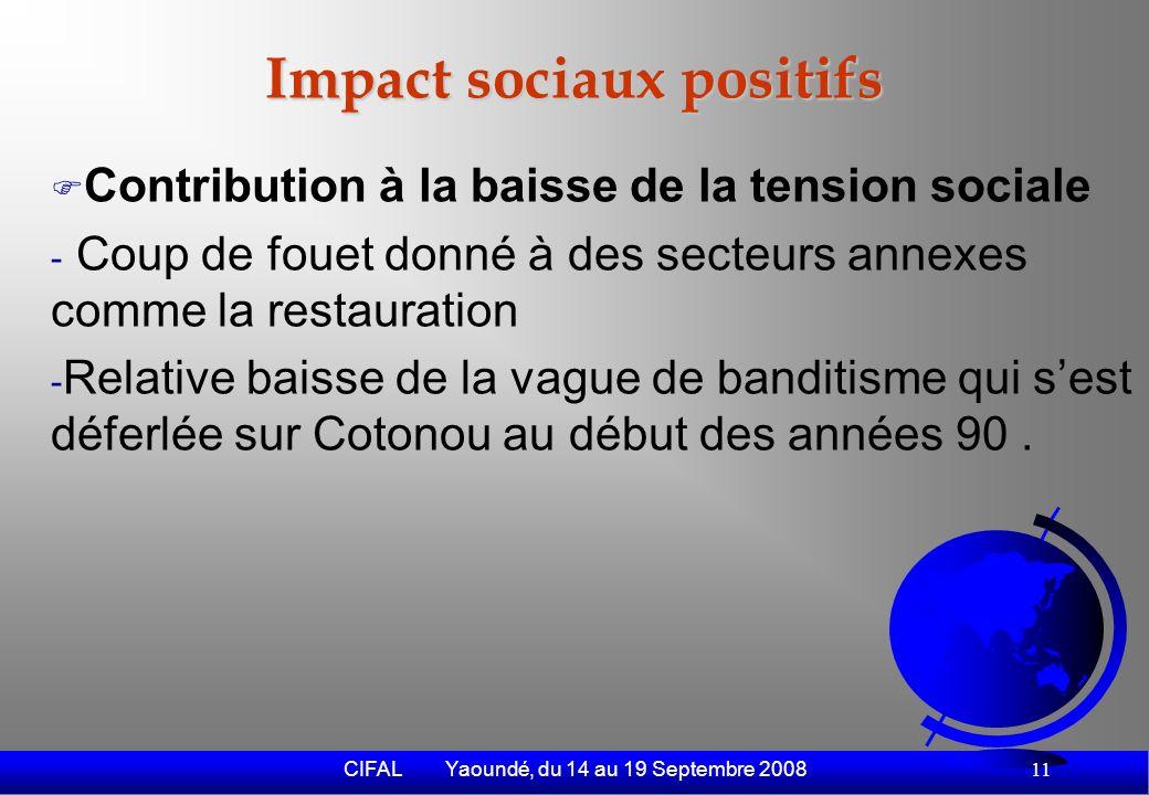 CIFAL Yaoundé, du 14 au 19 Septembre 2008 12 Externalités négatives (1) Nuisances environnementales - Vétusté des engins (99% des engins sont doccasion.