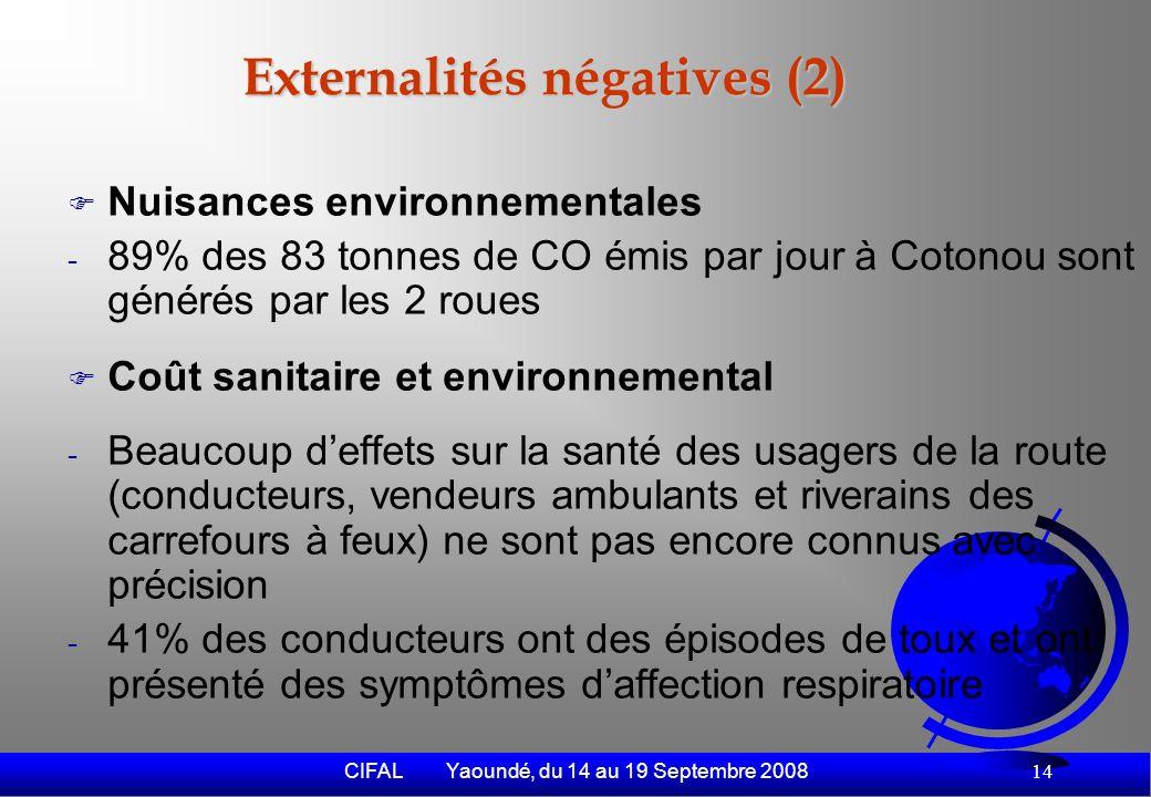 CIFAL Yaoundé, du 14 au 19 Septembre 2008 15 Evasion fiscale Non assujettissement à limposition fiscale Consommation de produits pétroliers de contrebande Régression du parc des taxi-ville régulièrement assujettis à limposition