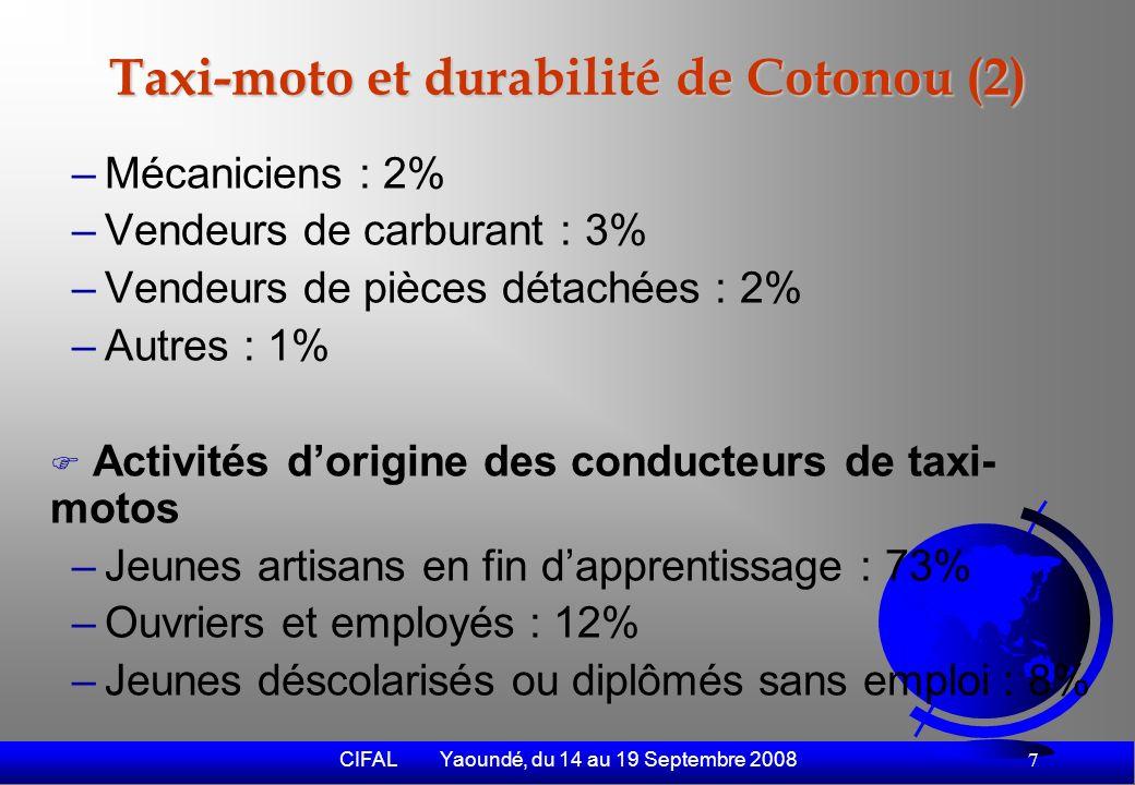CIFAL Yaoundé, du 14 au 19 Septembre 2008 8 Taxi-moto et durabilité de Cotonou (3) Activités dorigine des propriétaires de motos –Commerçants : 40% –Fonctionnaires : 23% –Policiers : 7% –Magistrats : 4% –Autres : 26%
