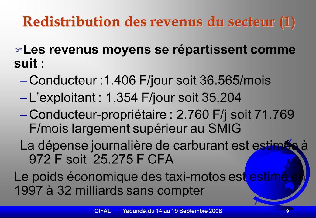CIFAL Yaoundé, du 14 au 19 Septembre 2008 10 Redistribution des revenus du secteur (2) Le poids économique du secteur Le poids économique des taxi-motos est estimé en 1997 à 32 milliards sans compter lachat de lengin et les charges annuelles dexploitation estimées à 45.500 F par an par engin.