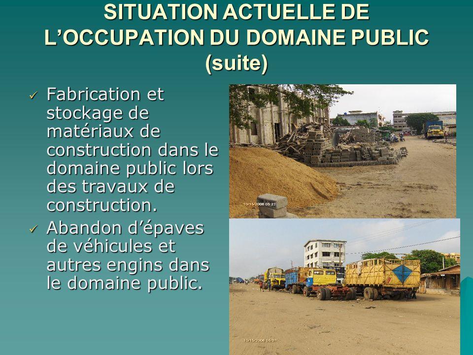 SITUATION ACTUELLE DE LOCCUPATION DU DOMAINE PUBLIC (suite) Fabrication et stockage de matériaux de construction dans le domaine public lors des travaux de construction.