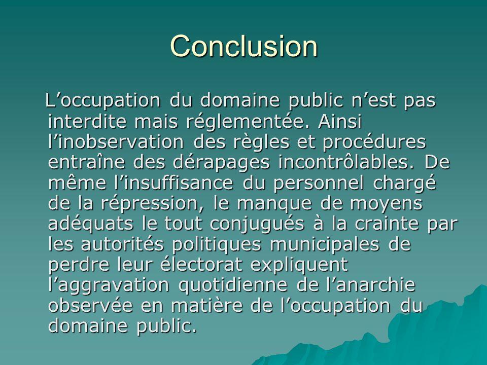 Conclusion Loccupation du domaine public nest pas interdite mais réglementée.