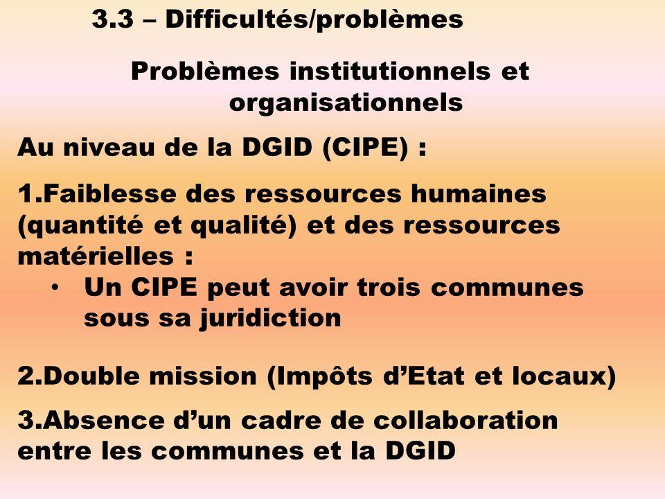 Problèmes institutionnels et organisationnels Au niveau de la DGID (CIPE) : 1.Faiblesse des ressources humaines (quantité et qualité) et des ressources matérielles : Un CIPE peut avoir trois communes sous sa juridiction 2.Double mission (Impôts dEtat et locaux) 3.Absence dun cadre de collaboration entre les communes et la DGID 3.3 – Difficultés/problèmes