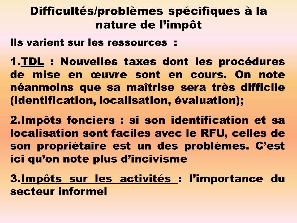 Difficultés/problèmes spécifiques à la nature de limpôt Ils varient sur les ressources : 1.TDL : Nouvelles taxes dont les procédures de mise en œuvre sont en cours.