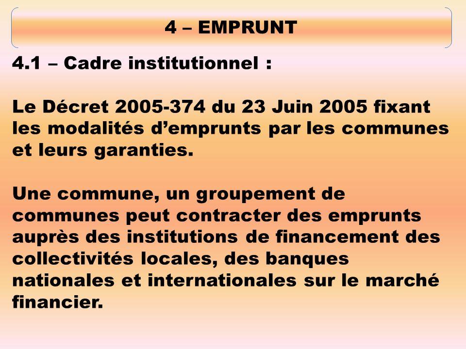 4 – EMPRUNT 4.1 – Cadre institutionnel : Le Décret 2005-374 du 23 Juin 2005 fixant les modalités demprunts par les communes et leurs garanties.