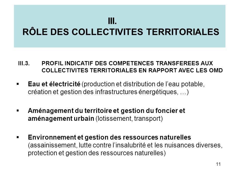 III. RÔLE DES COLLECTIVITES TERRITORIALES Eau et électricité (production et distribution de leau potable, création et gestion des infrastructures éner