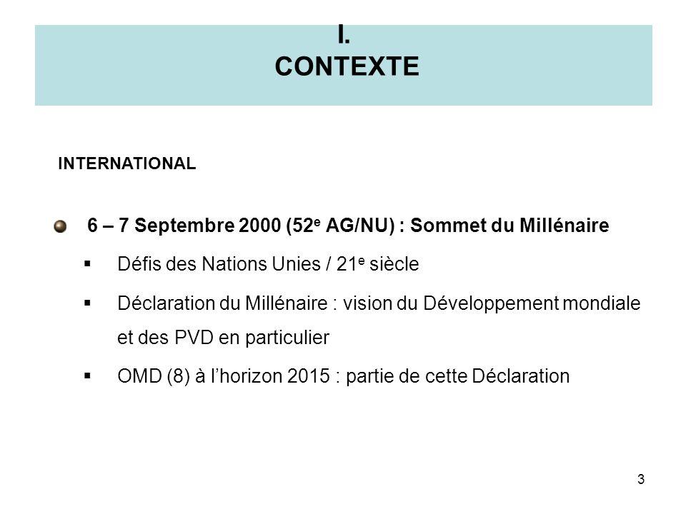 I. CONTEXTE 6 – 7 Septembre 2000 (52 e AG/NU) : Sommet du Millénaire Défis des Nations Unies / 21 e siècle Déclaration du Millénaire : vision du Dével