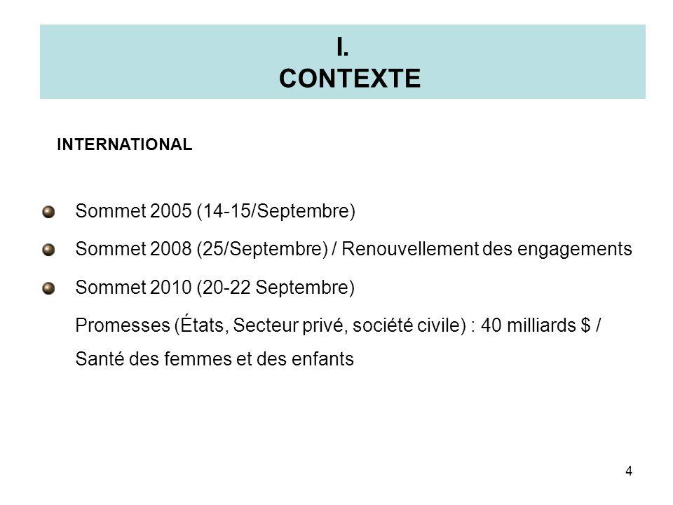 I. CONTEXTE Sommet 2005 (14-15/Septembre) Sommet 2008 (25/Septembre) / Renouvellement des engagements Sommet 2010 (20-22 Septembre) Promesses (États,