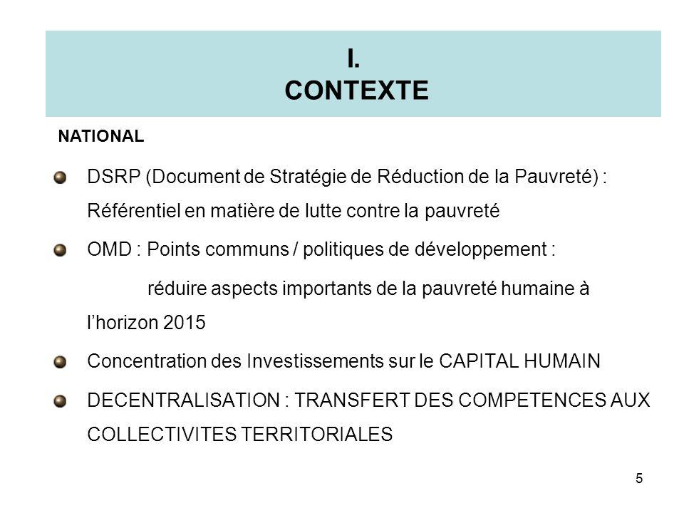 I. CONTEXTE DSRP (Document de Stratégie de Réduction de la Pauvreté) : Référentiel en matière de lutte contre la pauvreté OMD : Points communs / polit