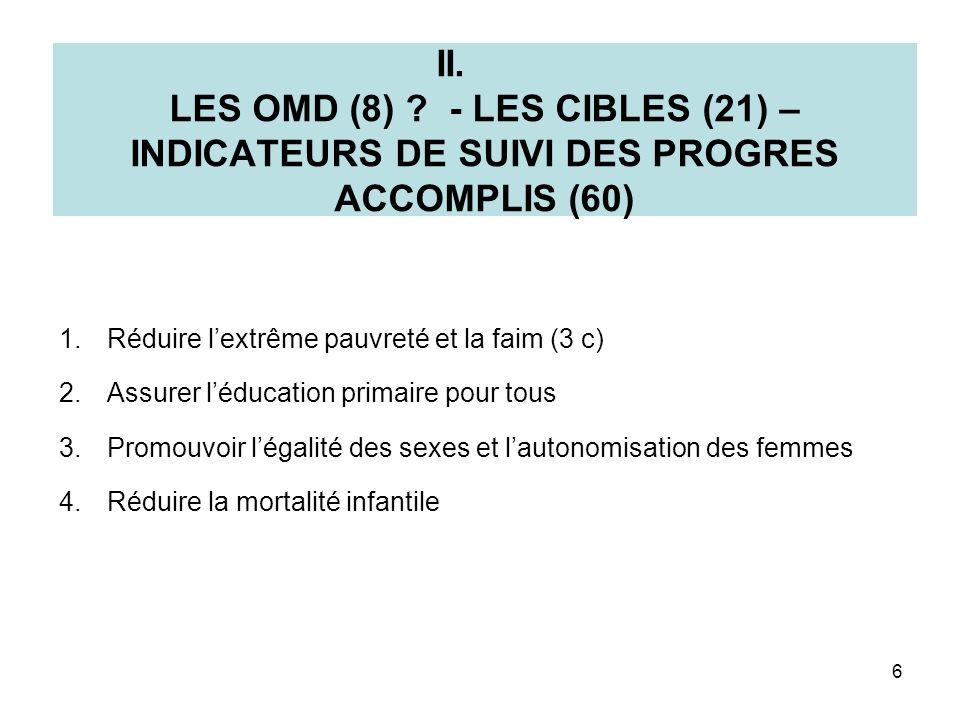 II. LES OMD (8) ? - LES CIBLES (21) – INDICATEURS DE SUIVI DES PROGRES ACCOMPLIS (60) 1.Réduire lextrême pauvreté et la faim (3 c) 2.Assurer léducatio