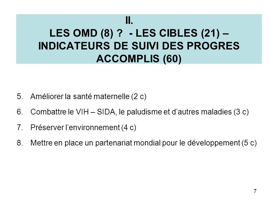 II. LES OMD (8) ? - LES CIBLES (21) – INDICATEURS DE SUIVI DES PROGRES ACCOMPLIS (60) 5.Améliorer la santé maternelle (2 c) 6.Combattre le VIH – SIDA,