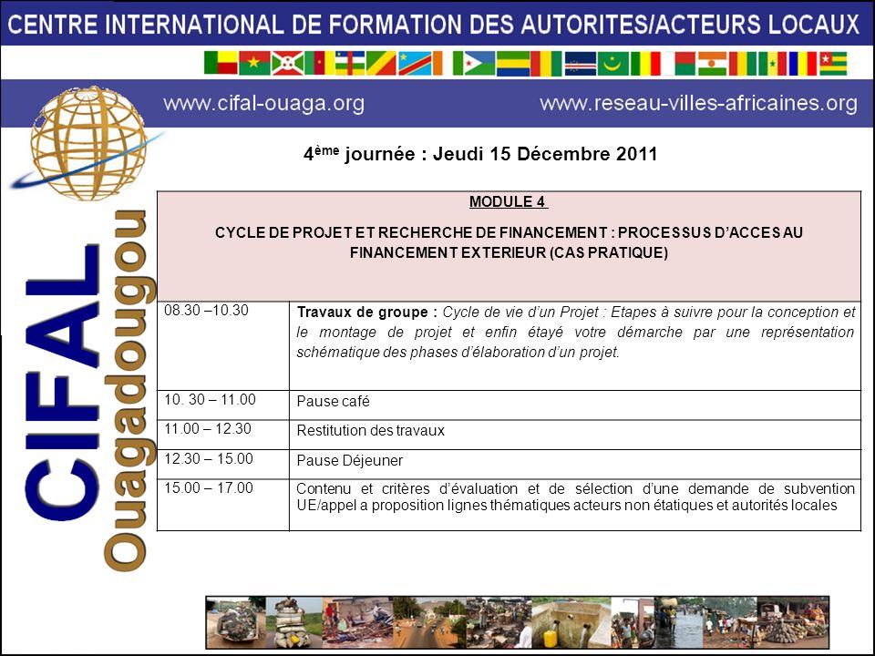 MODULE 4 CYCLE DE PROJET ET RECHERCHE DE FINANCEMENT : PROCESSUS DACCES AU FINANCEMENT EXTERIEUR (CAS PRATIQUE) 08.30 –10.30 Travaux de groupe : Cycle