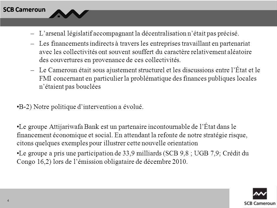–Larsenal législatif accompagnant la décentralisation nétait pas précisé. –Les financements indirects à travers les entreprises travaillant en partena