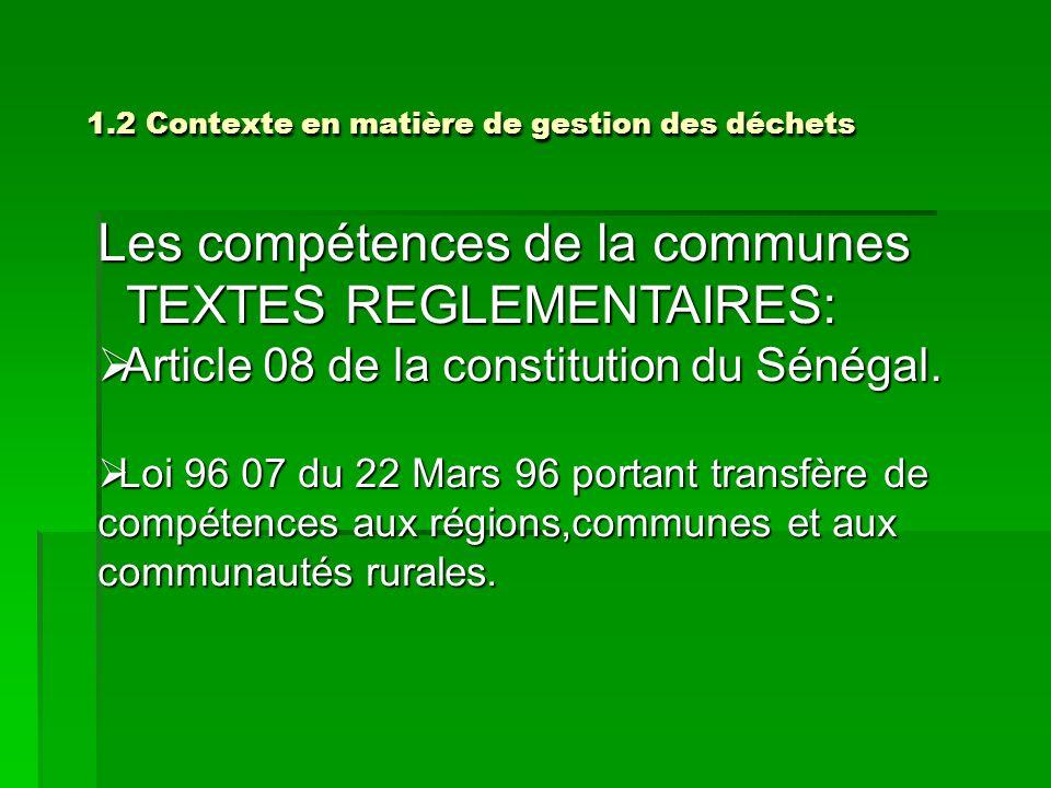 1.2 Contexte en matière de gestion des déchets 1.2 Contexte en matière de gestion des déchets Les compétences de la communes TEXTES REGLEMENTAIRES: TE