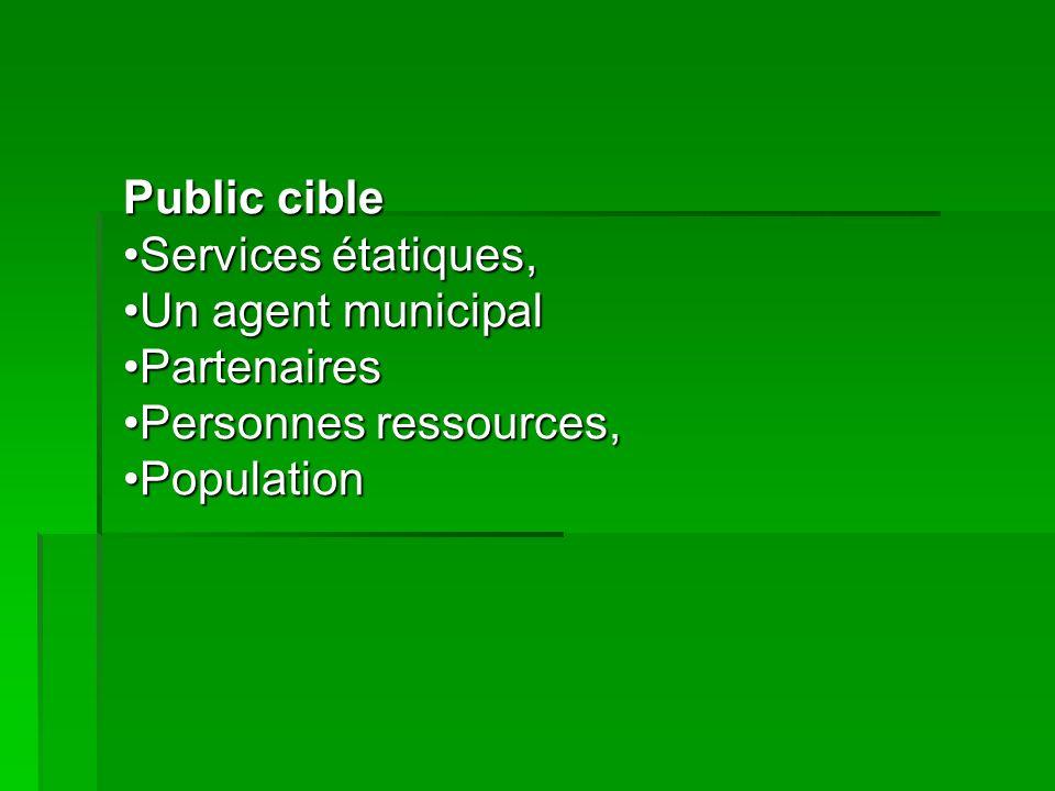 Public cible Services étatiques,Services étatiques, Un agent municipalUn agent municipal PartenairesPartenaires Personnes ressources,Personnes ressour