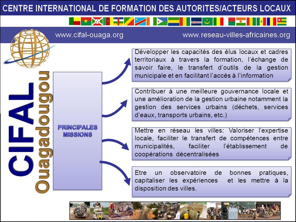 Développer les capacités des élus locaux et cadres territoriaux à travers la formation, léchange de savoir faire, le transfert doutils de la gestion m