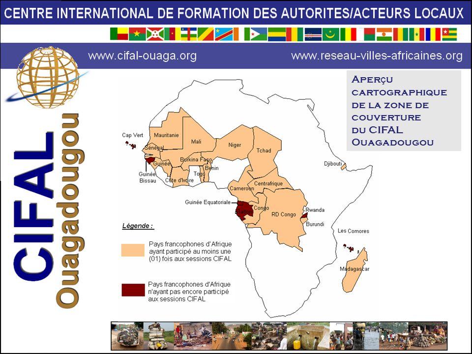 Aper ç u cartographique de la zone de couverture du CIFAL Ouagadougou