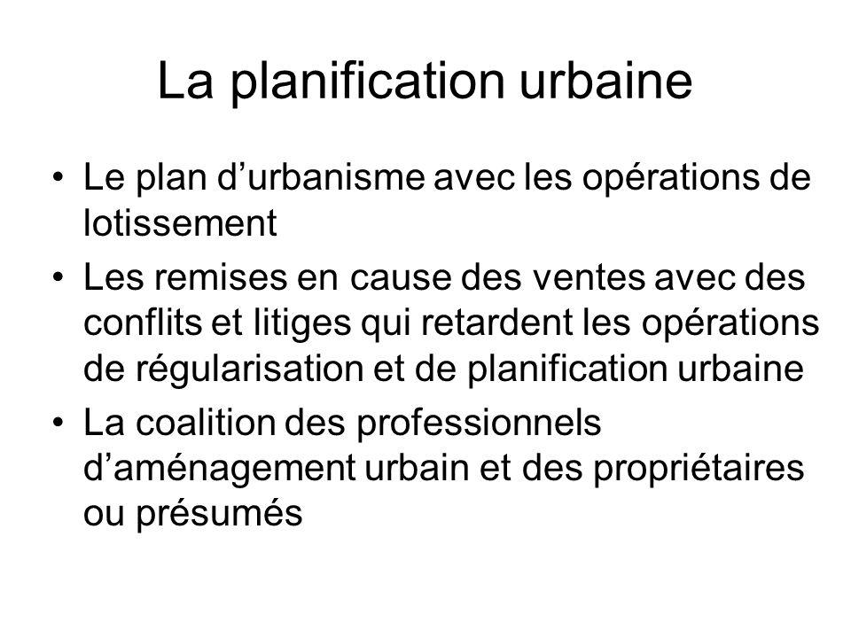 La planification urbaine Le plan durbanisme avec les opérations de lotissement Les remises en cause des ventes avec des conflits et litiges qui retard