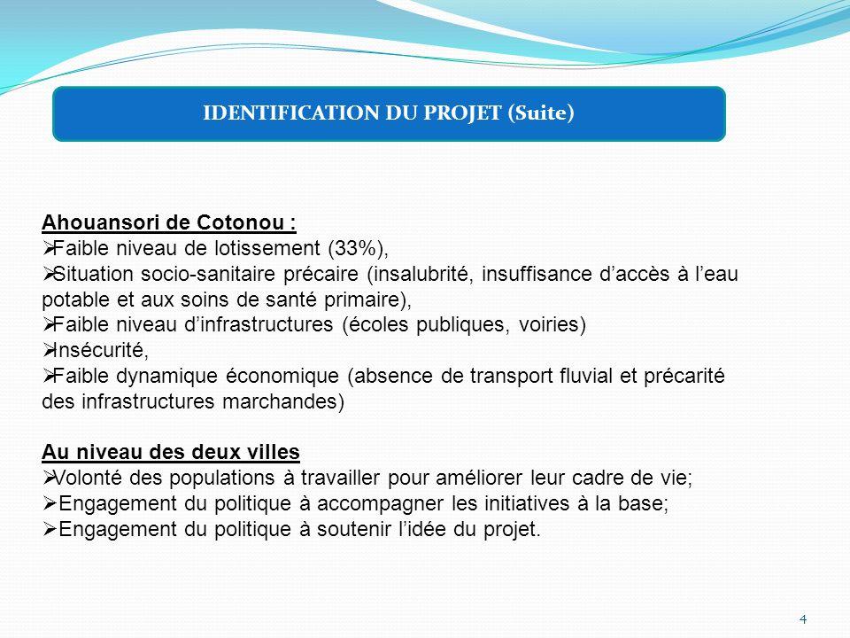 4 IDENTIFICATION DU PROJET (Suite) Ahouansori de Cotonou : Faible niveau de lotissement (33%), Situation socio-sanitaire précaire (insalubrité, insuff