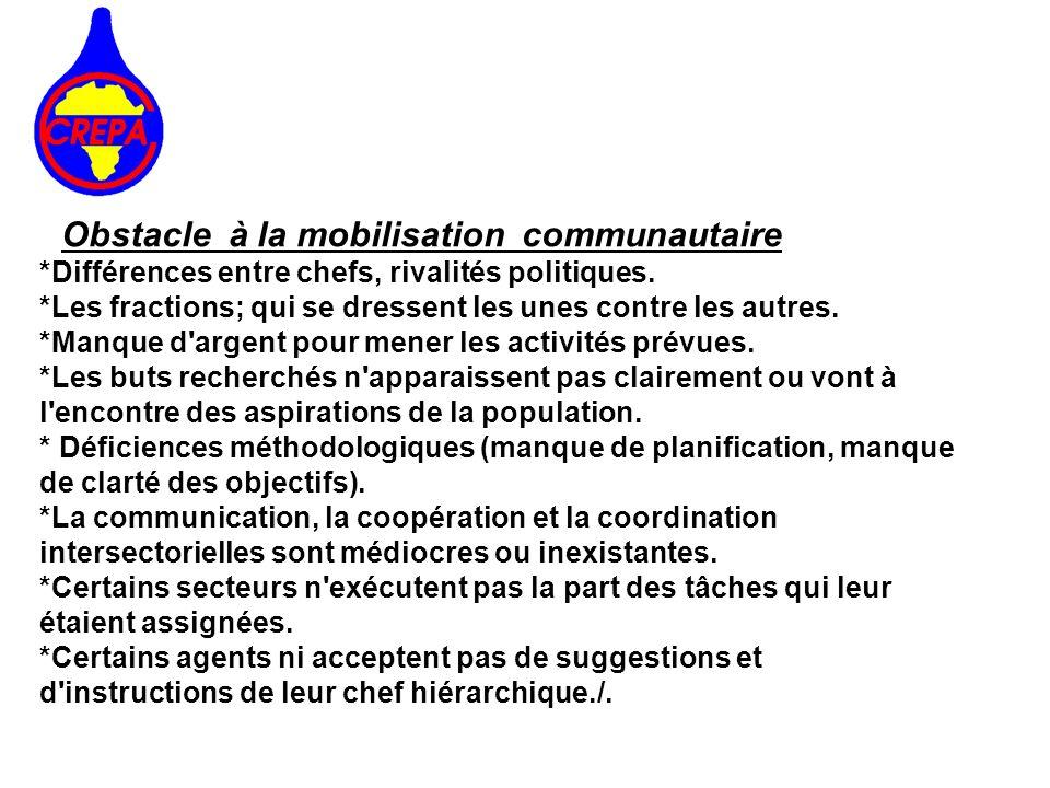 Obstacle à la mobilisation communautaire *Différences entre chefs, rivalités politiques. *Les fractions; qui se dressent les unes contre les autres. *