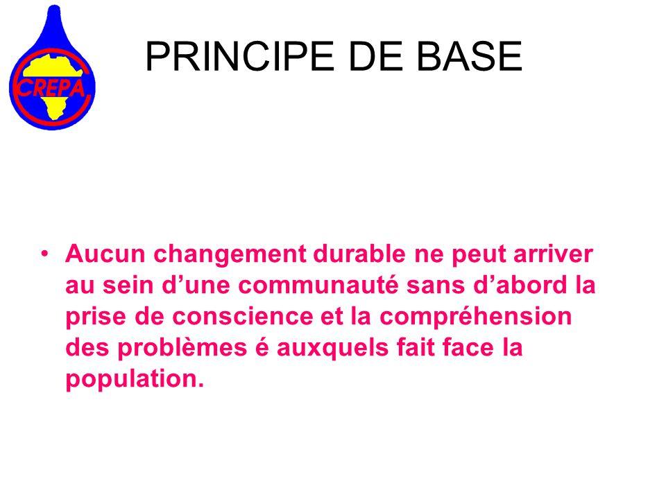 PRINCIPE DE BASE Aucun changement durable ne peut arriver au sein dune communauté sans dabord la prise de conscience et la compréhension des problèmes