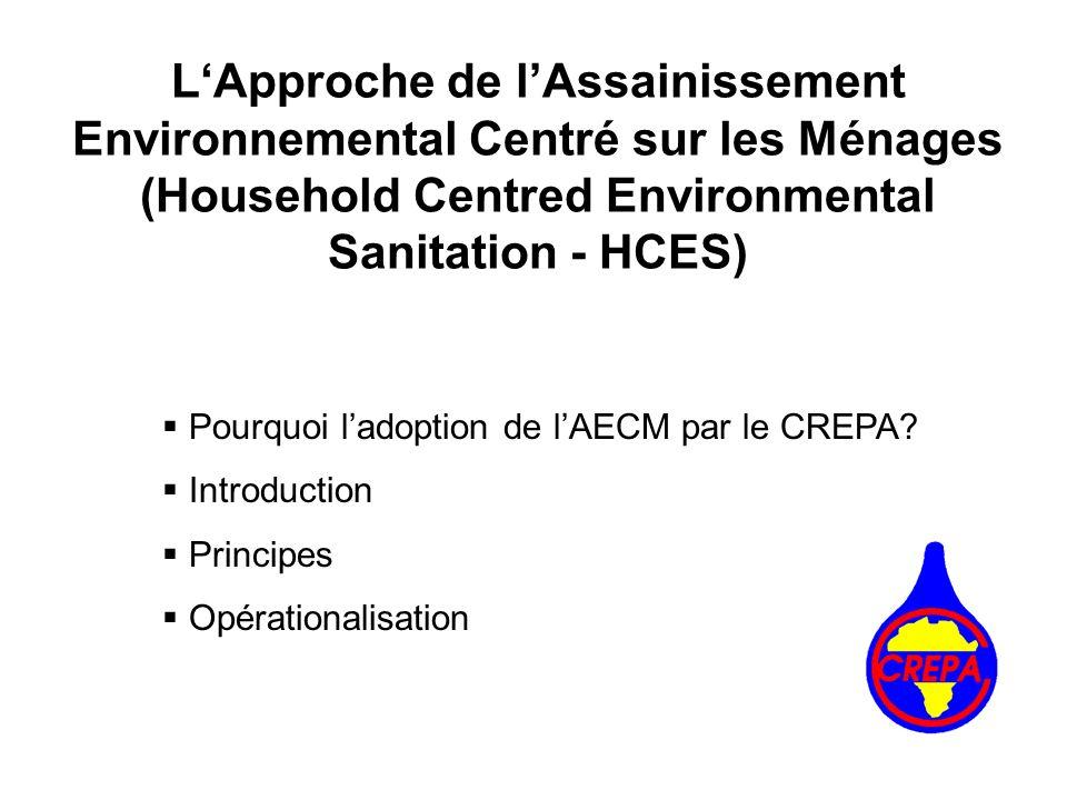 Pourquoi ladoption de lAECM par le CREPA? Introduction Principes Opérationalisation LApproche de lAssainissement Environnemental Centré sur les Ménage