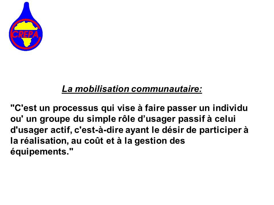 Les formes de mobilisation communautaire *la mobilisation en nature; *la mobilisation financière; *l investissement humain.