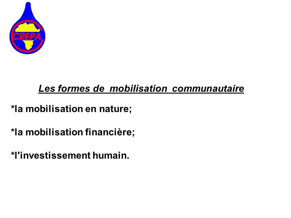 Les formes de mobilisation communautaire *la mobilisation en nature; *la mobilisation financière; *l'investissement humain.