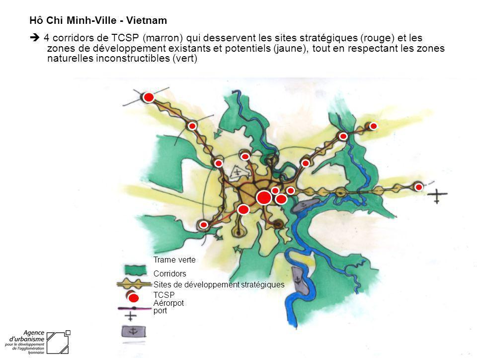 Trame verte Corridors Sites de développement stratégiques TCSP Aérorpot port Hô Chi Minh-Ville - Vietnam 4 corridors de TCSP (marron) qui desservent l