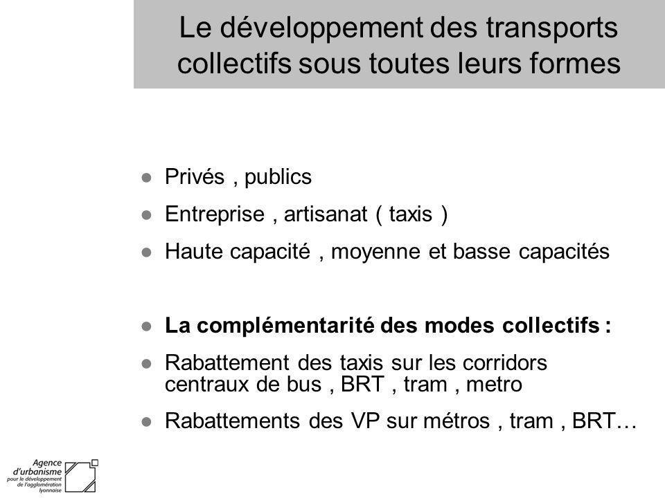 Le développement des transports collectifs sous toutes leurs formes Privés, publics Entreprise, artisanat ( taxis ) Haute capacité, moyenne et basse c