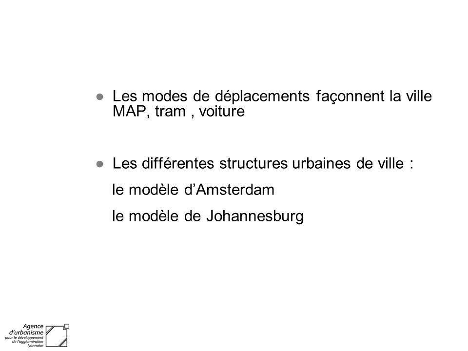 Les modes de déplacements façonnent la ville MAP, tram, voiture Les différentes structures urbaines de ville : le modèle dAmsterdam le modèle de Johan