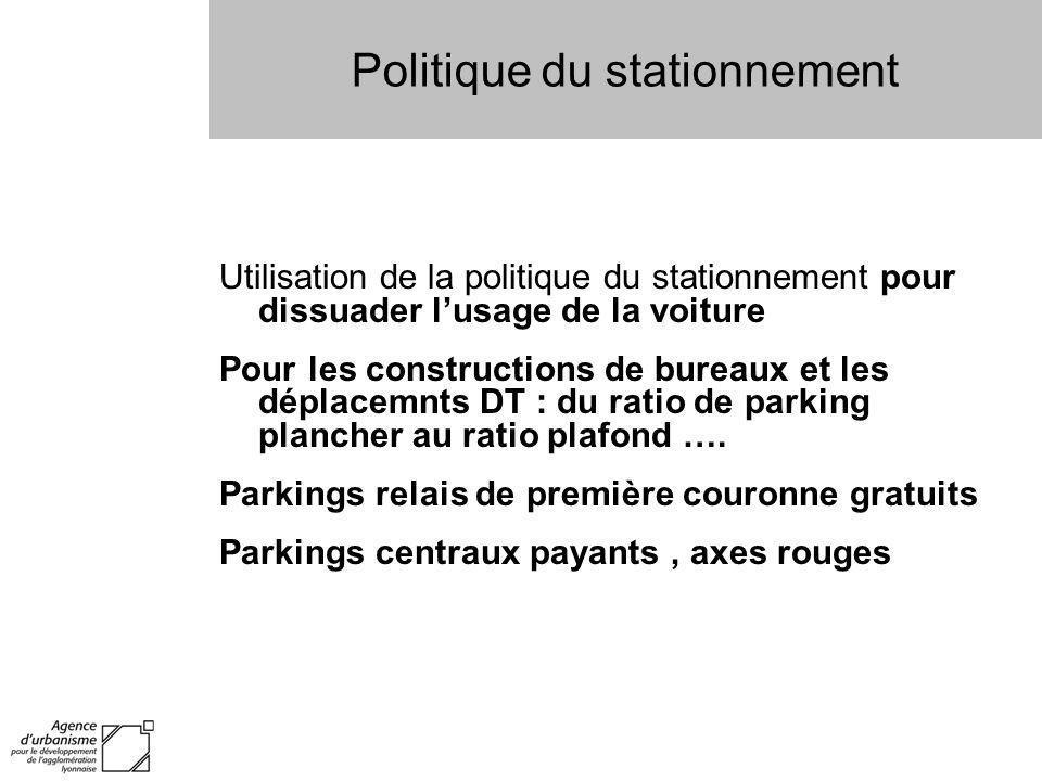 Politique du stationnement Utilisation de la politique du stationnement pour dissuader lusage de la voiture Pour les constructions de bureaux et les d