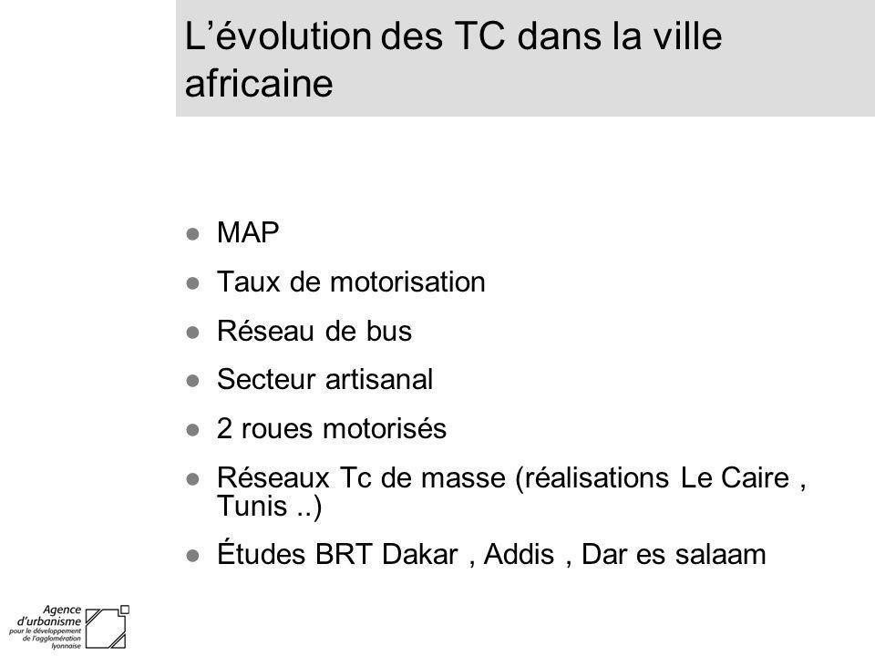 MAP Taux de motorisation Réseau de bus Secteur artisanal 2 roues motorisés Réseaux Tc de masse (réalisations Le Caire, Tunis..) Études BRT Dakar, Addi
