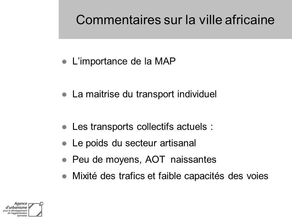Commentaires sur la ville africaine Limportance de la MAP La maitrise du transport individuel Les transports collectifs actuels : Le poids du secteur