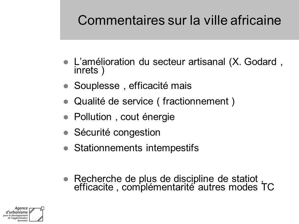 Commentaires sur la ville africaine Lamélioration du secteur artisanal (X. Godard, inrets ) Souplesse, efficacité mais Qualité de service ( fractionne