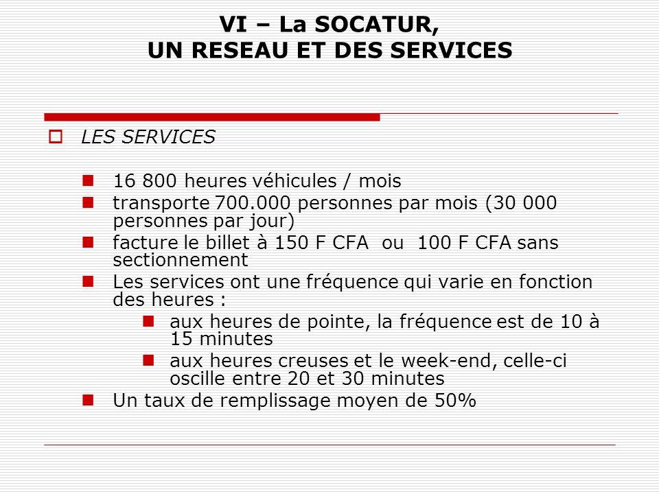 VI – La SOCATUR, UN RESEAU ET DES SERVICES LES SERVICES 16 800 heures véhicules / mois transporte 700.000 personnes par mois (30 000 personnes par jou