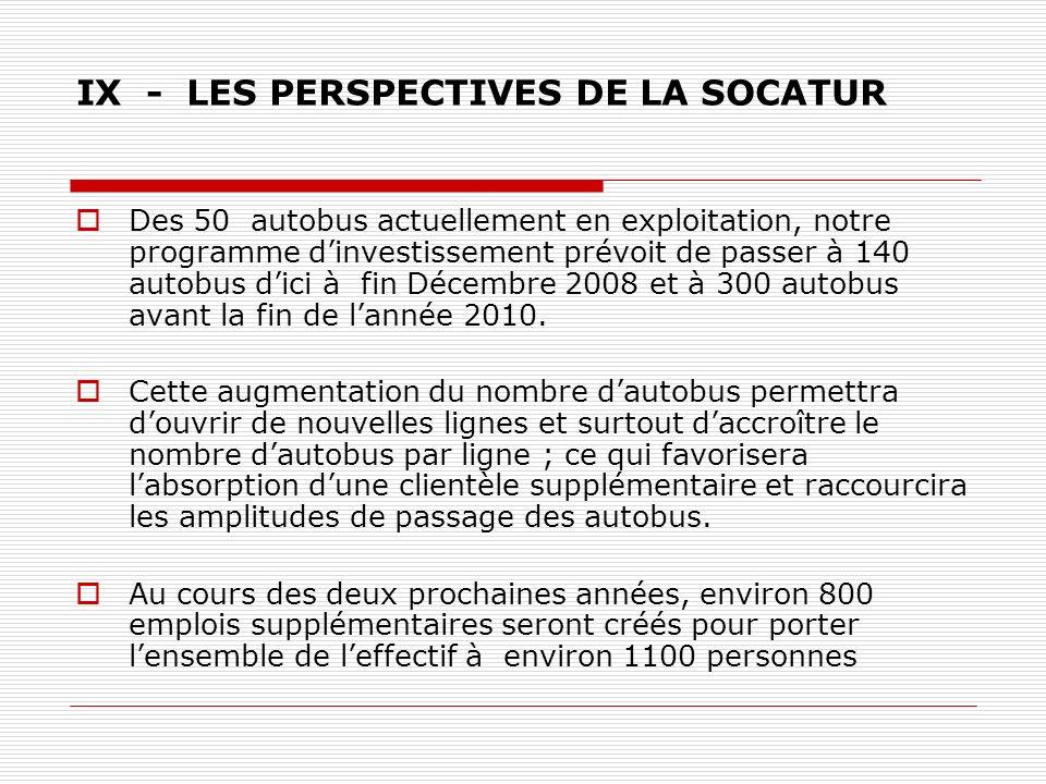 IX - LES PERSPECTIVES DE LA SOCATUR Des 50 autobus actuellement en exploitation, notre programme dinvestissement prévoit de passer à 140 autobus dici