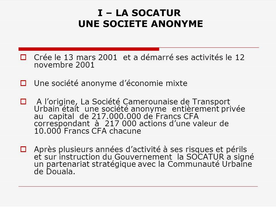 I – LA SOCATUR UNE SOCIETE ANONYME Crée le 13 mars 2001 et a démarré ses activités le 12 novembre 2001 Une société anonyme déconomie mixte A lorigine,