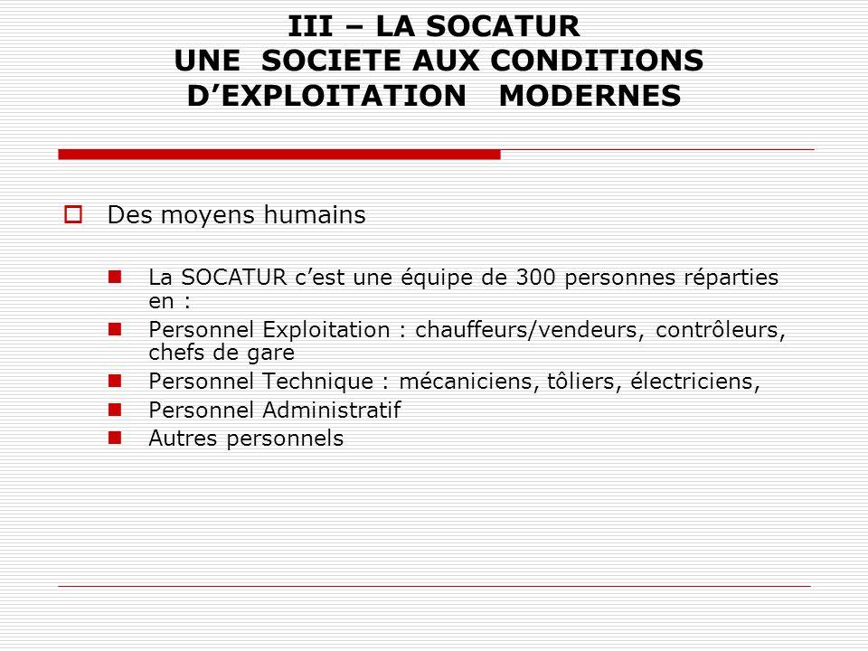 III – LA SOCATUR UNE SOCIETE AUX CONDITIONS DEXPLOITATION MODERNES Des moyens humains La SOCATUR cest une équipe de 300 personnes réparties en : Perso