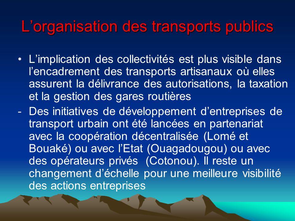 Lorganisation des transports publics Limplication des collectivités est plus visible dans lencadrement des transports artisanaux où elles assurent la