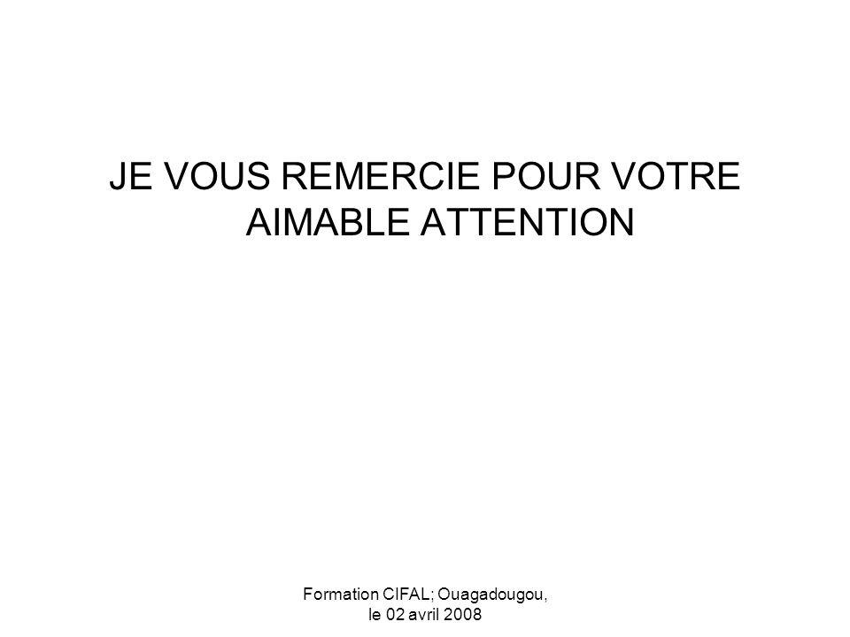 Formation CIFAL; Ouagadougou, le 02 avril 2008 JE VOUS REMERCIE POUR VOTRE AIMABLE ATTENTION