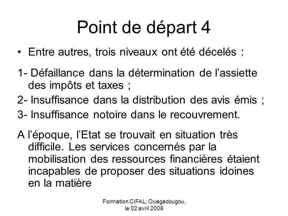 Formation CIFAL; Ouagadougou, le 02 avril 2008 Point de départ 4 Entre autres, trois niveaux ont été décelés : 1- Défaillance dans la détermination de lassiette des impôts et taxes ; 2- Insuffisance dans la distribution des avis émis ; 3- Insuffisance notoire dans le recouvrement.