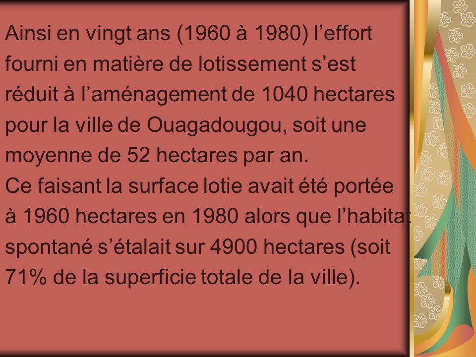 Ainsi en vingt ans (1960 à 1980) leffort fourni en matière de lotissement sest réduit à laménagement de 1040 hectares pour la ville de Ouagadougou, so