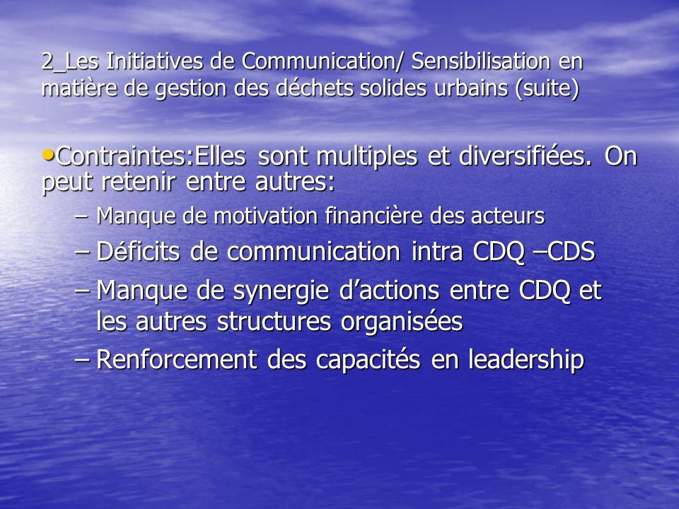 2_Les Initiatives de Communication/ Sensibilisation en matière de gestion des déchets solides urbains (suite) Contraintes:Elles sont multiples et dive