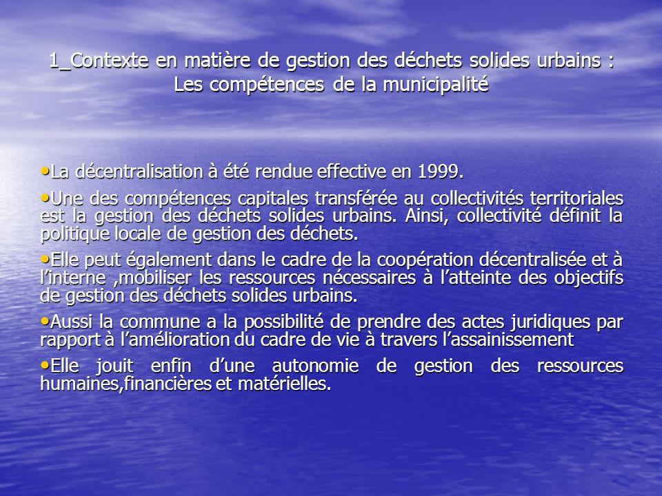 1_Contexte en matière de gestion des déchets solides urbains : Les compétences de la municipalité La décentralisation à été rendue effective en 1999.