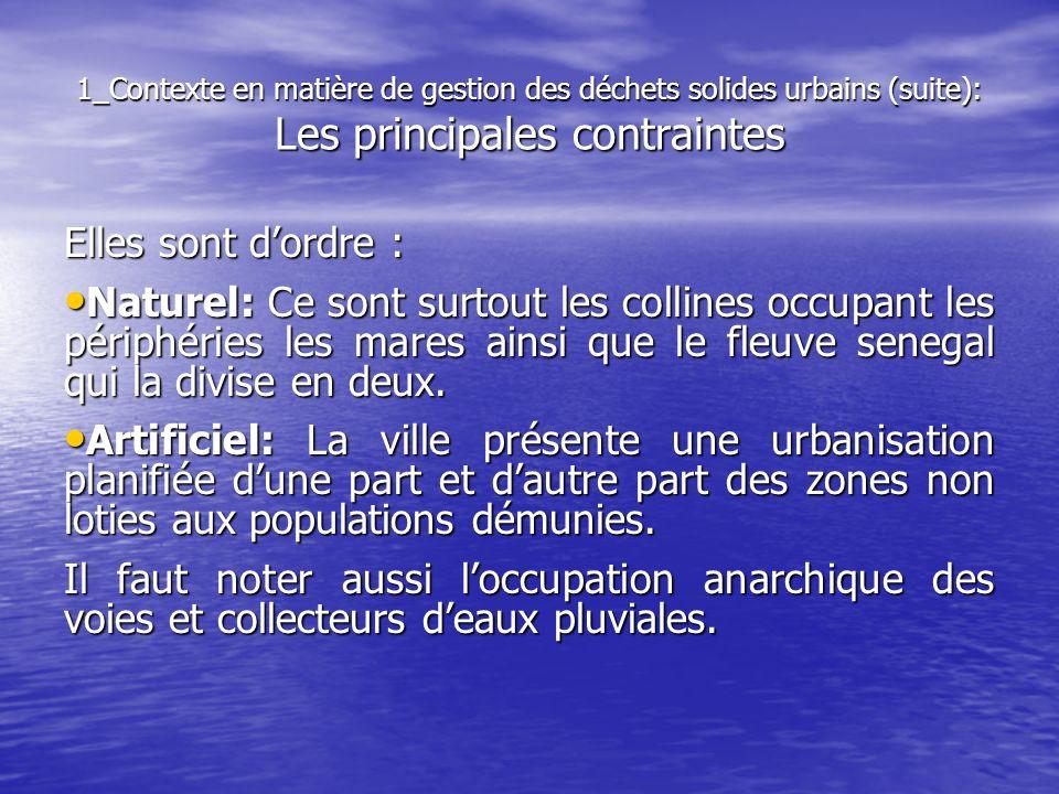 1_Contexte en matière de gestion des déchets solides urbains (suite): Les principales contraintes Elles sont dordre : Naturel: Ce sont surtout les col