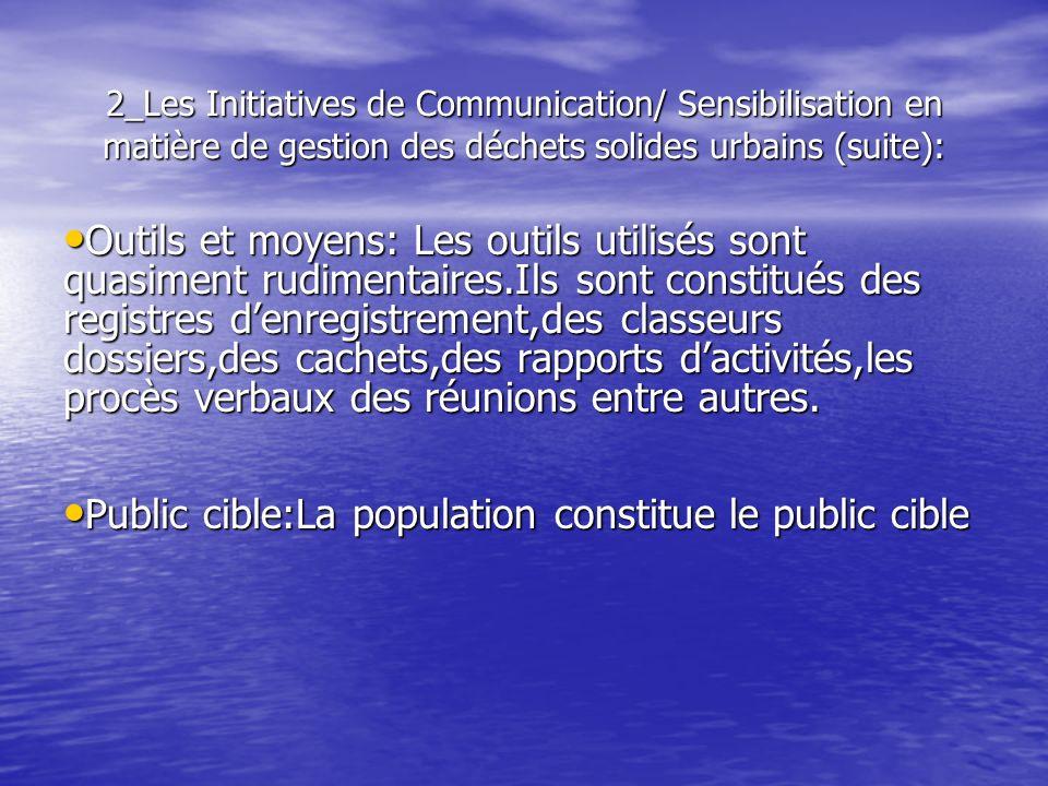 2_Les Initiatives de Communication/ Sensibilisation en matière de gestion des déchets solides urbains (suite): Outils et moyens: Les outils utilisés s