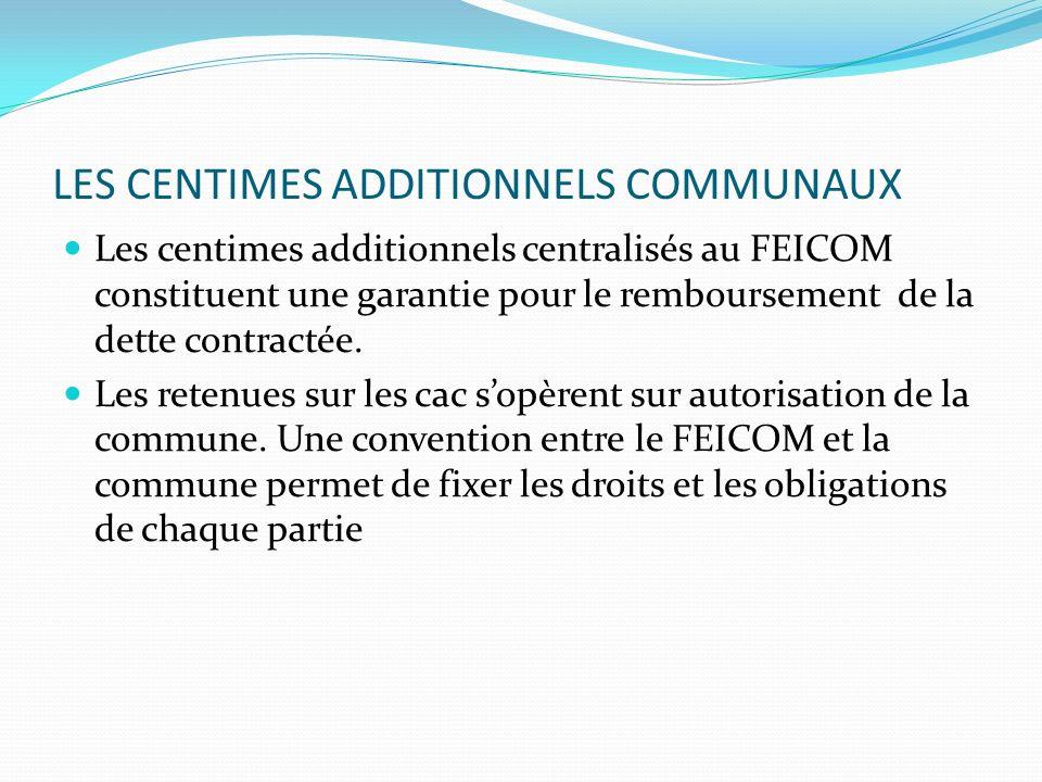 LES CENTIMES ADDITIONNELS COMMUNAUX Les centimes additionnels centralisés au FEICOM constituent une garantie pour le remboursement de la dette contractée.