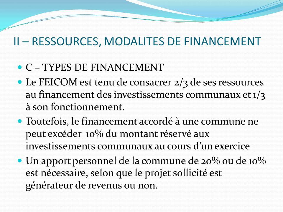 II – RESSOURCES, MODALITES DE FINANCEMENT C – TYPES DE FINANCEMENT Le FEICOM est tenu de consacrer 2/3 de ses ressources au financement des investissements communaux et 1/3 à son fonctionnement.