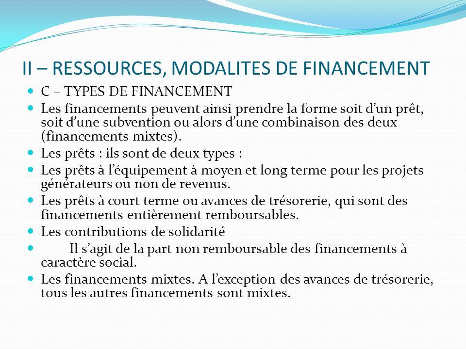 II – RESSOURCES, MODALITES DE FINANCEMENT C – TYPES DE FINANCEMENT Les financements peuvent ainsi prendre la forme soit dun prêt, soit dune subvention ou alors dune combinaison des deux (financements mixtes).